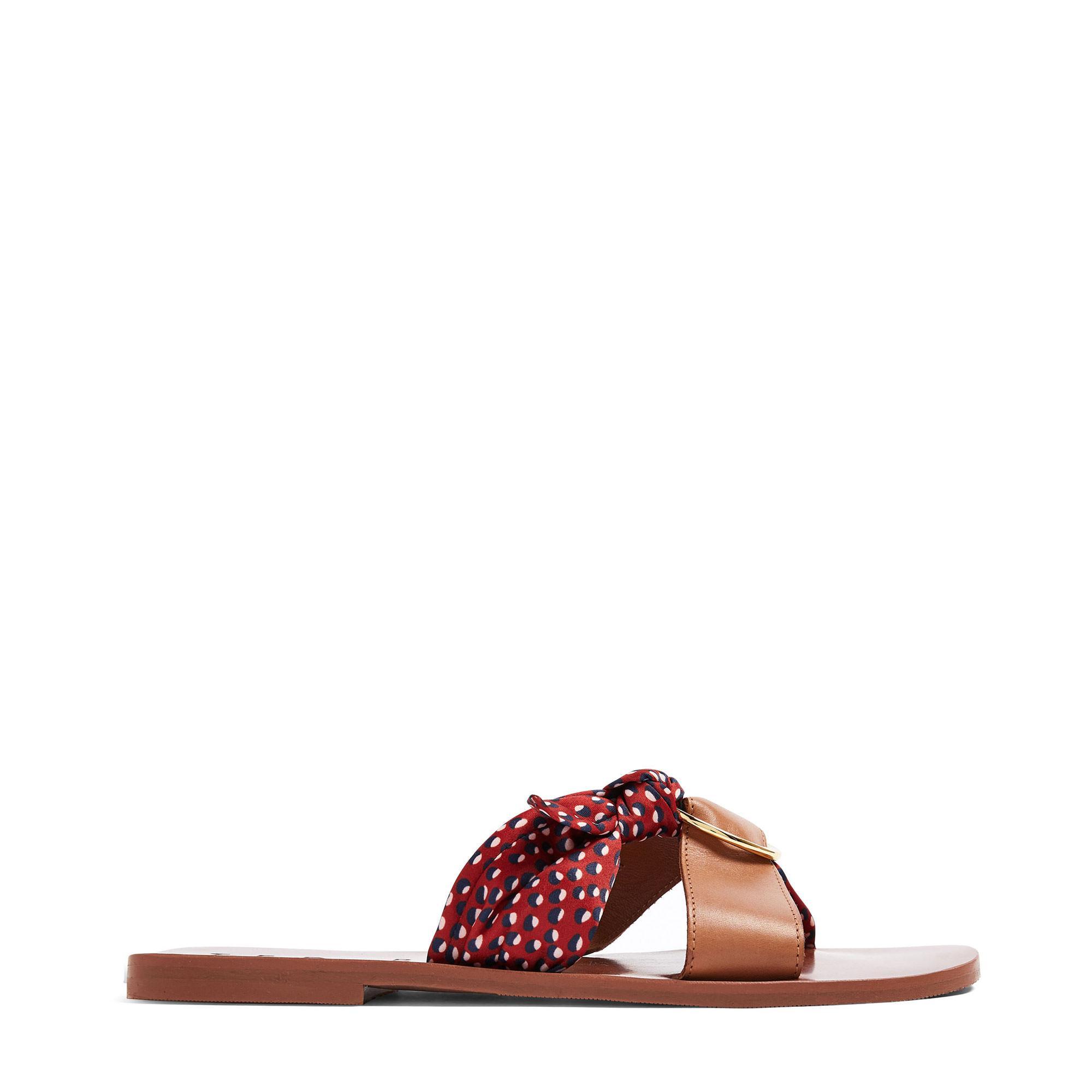 Maliya Leather Scarf-Detail Sandals
