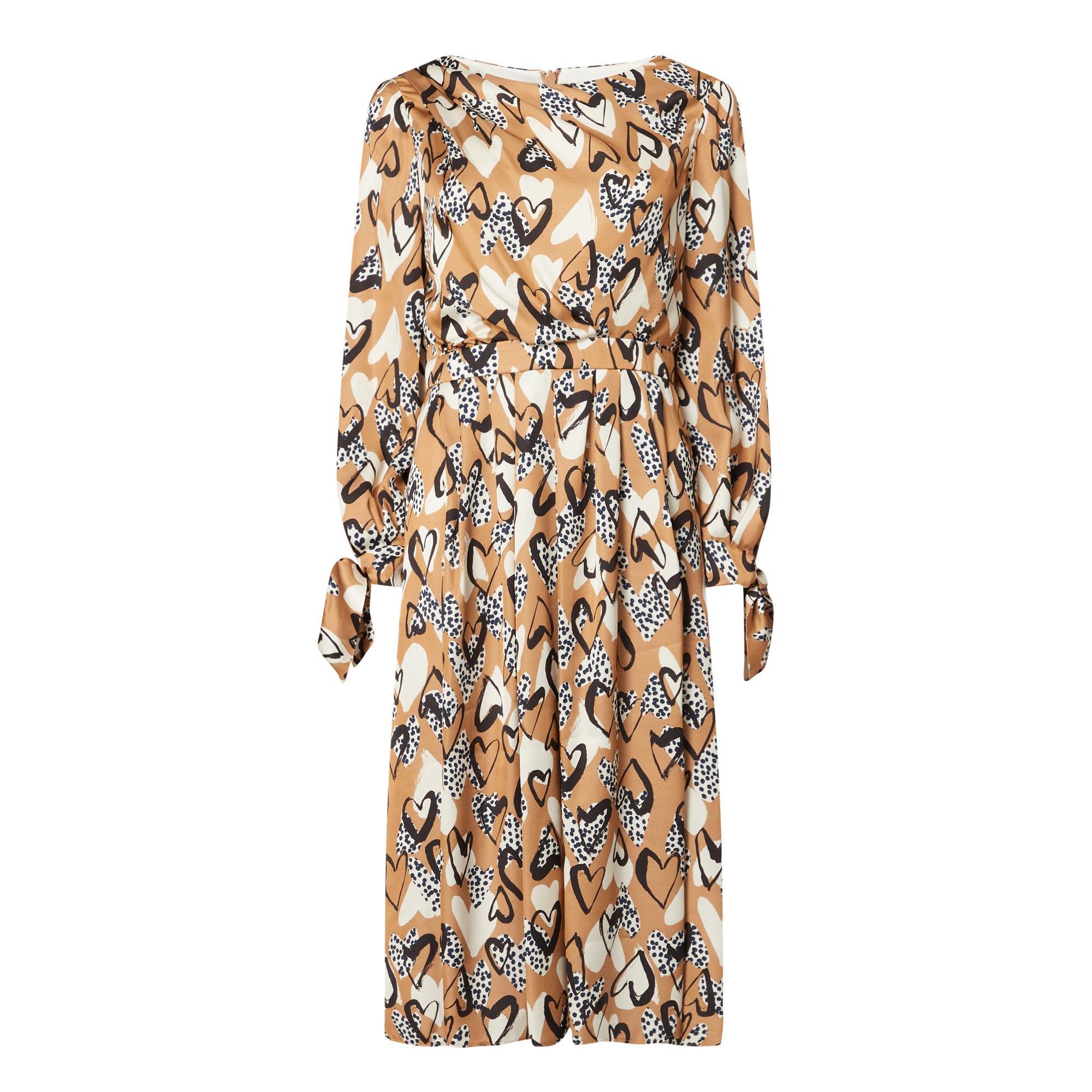 Heart Print Satin Dress