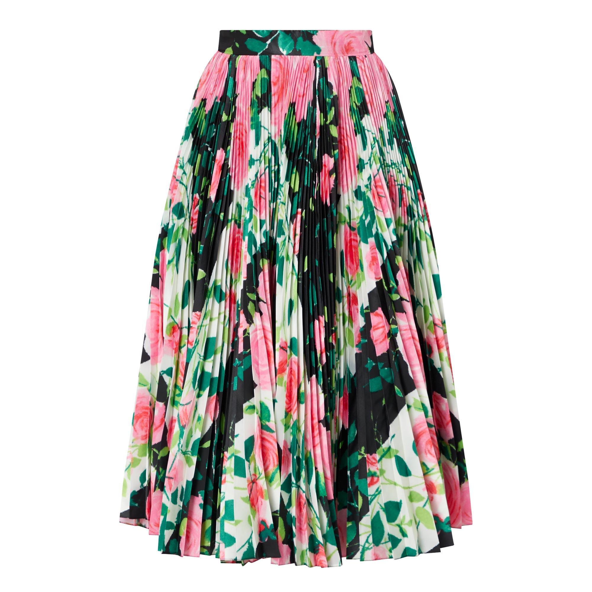 Rose-Print Pleated Skirt