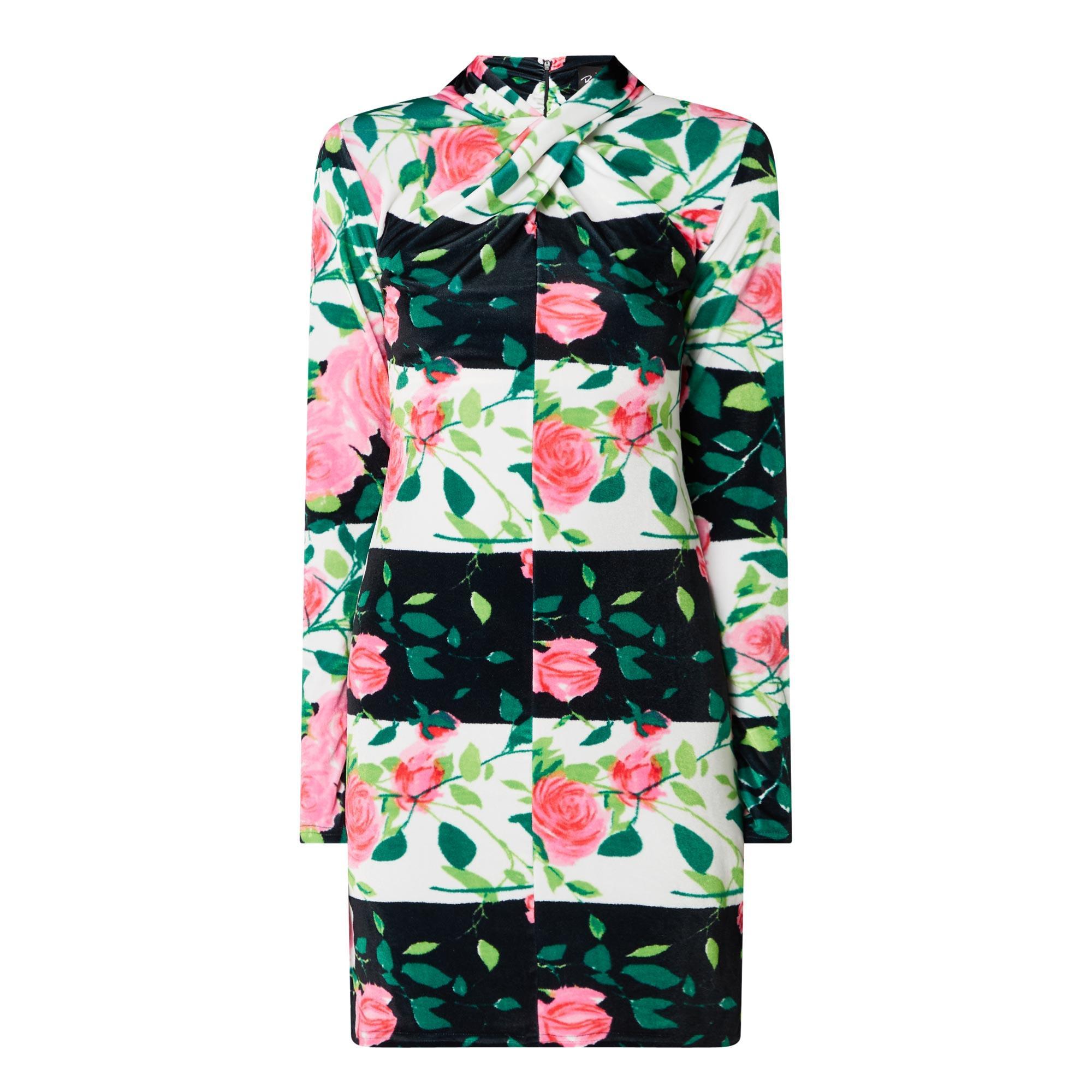 Rose Print Long-Sleeved Dress