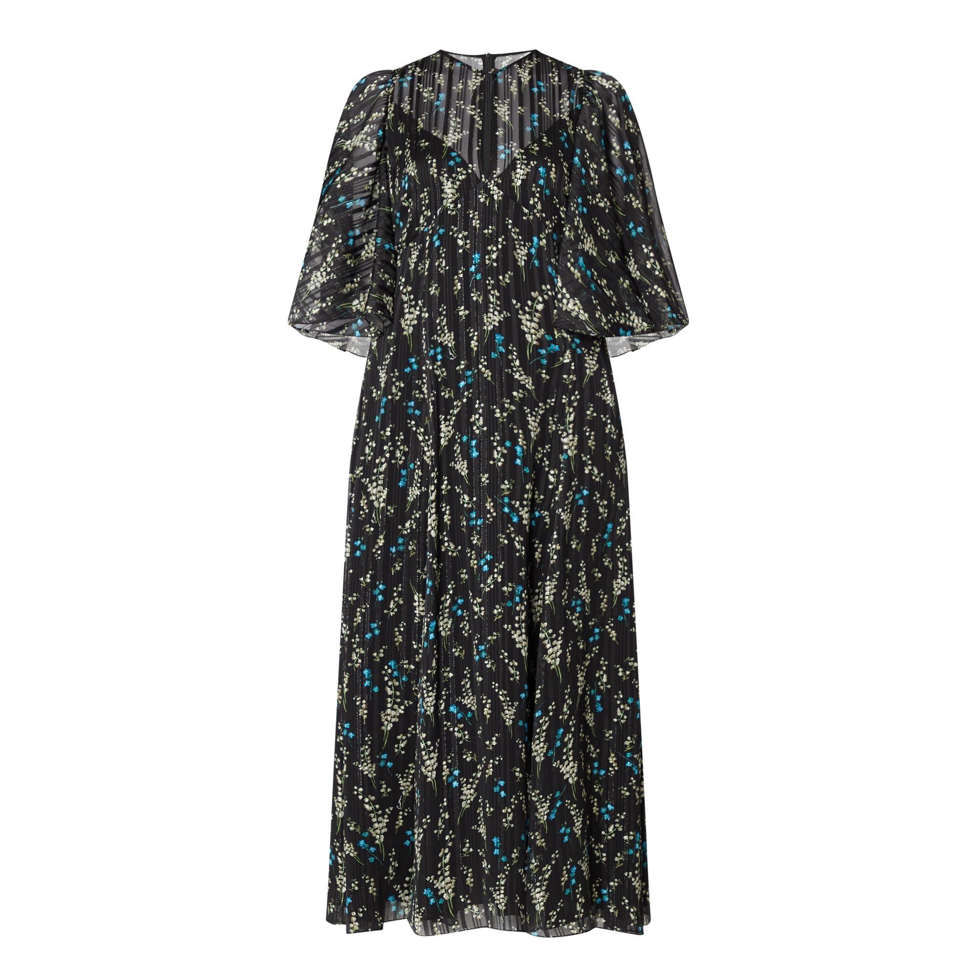 Ditsy Print Silk Dress