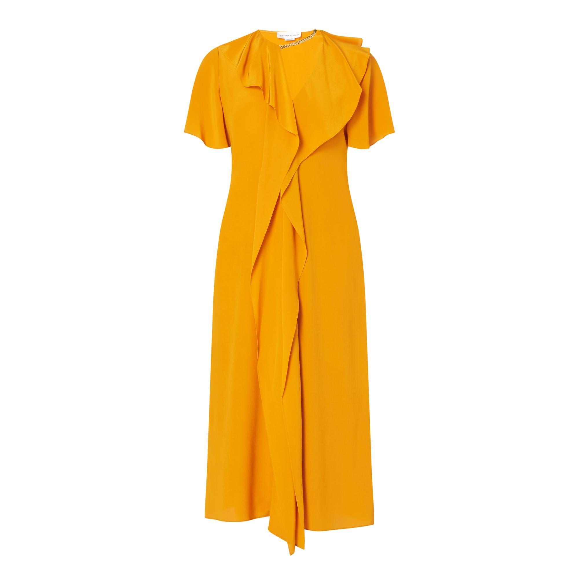 Ruffle Silk Midi Dress