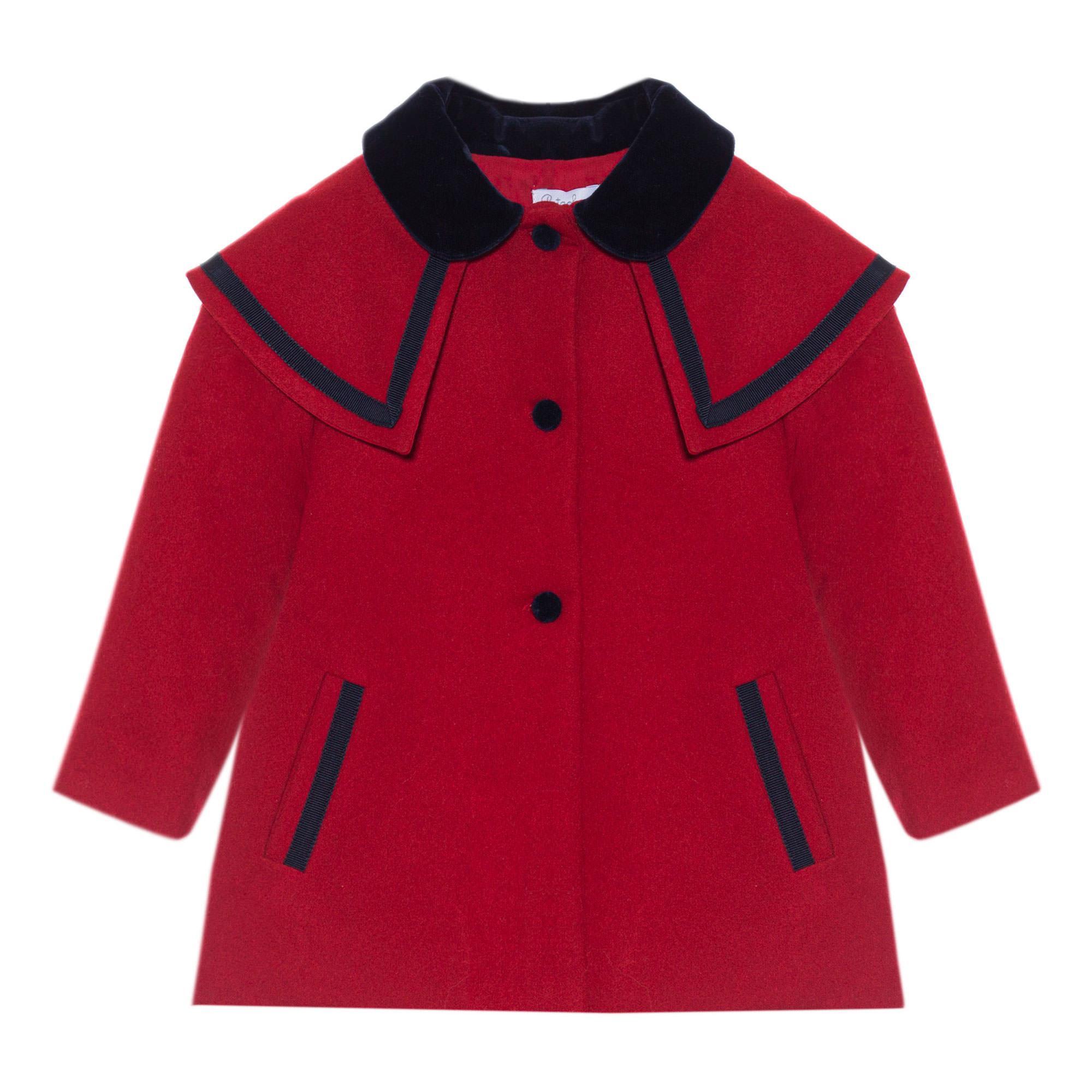 Navy Trim Wool Coat