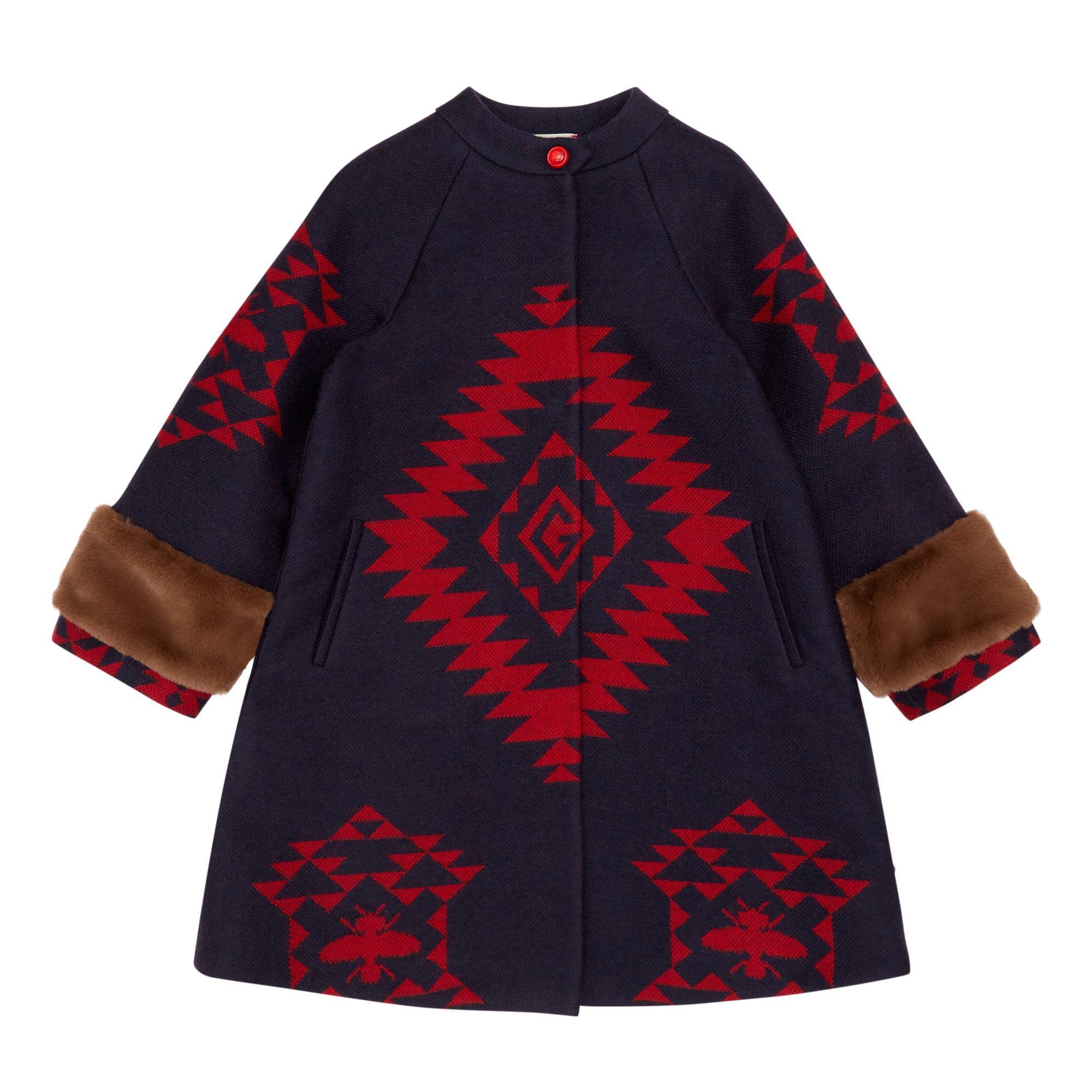 Geometric Bee Wool Coat