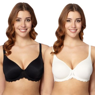 Gorgeous DD+ Pack of two black and white D-H non-padded t-shirt bras