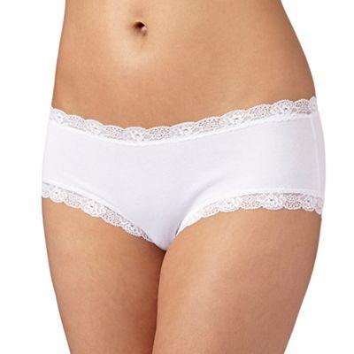 Debenhams White lace trim shorts