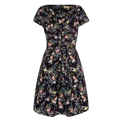Yumi Black bird print gathered tea dress