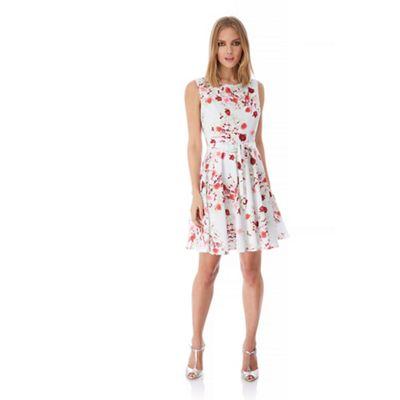 Yumi White Rose Print Occasion Dress