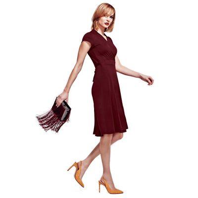HotSquash Burgundy Cap Sleeve Wrap Dress in Easycare Fabric