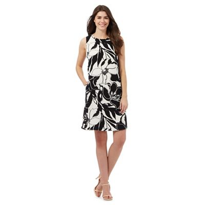 The Collection Ivory and black floral print trapeze dress