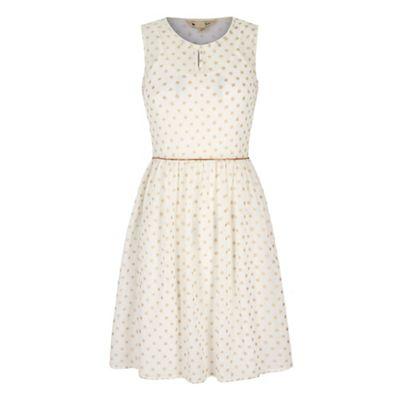 Yumi Cream Gold Polka Dot Print Day Dress