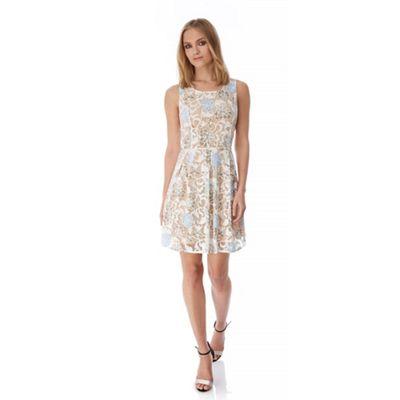 Yumi Cream Floral Print Burnout Occasion Dress