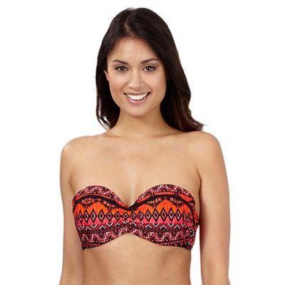 Beach Collection Orange aztec print bandeau bikini top