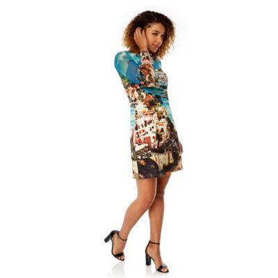 Yumi Blue Amalfi Coast Print Tunic Dress