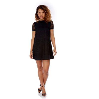Yumi Black Paper Lace Shift Dress