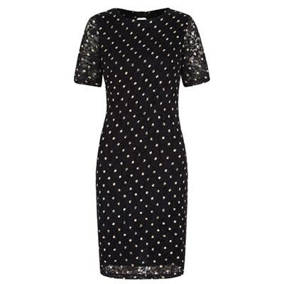 Yumi Black polka dot lace bodycon dress