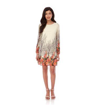 Yumi Cream Ditsy Blossom Print Tunic Dress