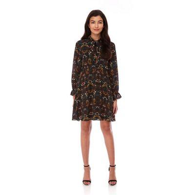 Yumi Black Flowe Print Dress