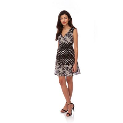 Yumi Black Floral Polka Dot Print Skater Dress