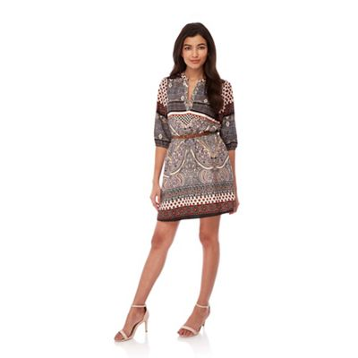 Yumi Multicoloured Mixed Border Print Belted Dress