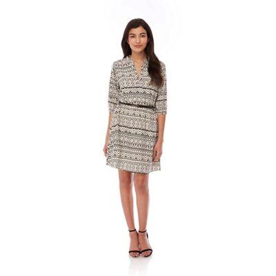 Yumi Black Aztec Print Belted Dress