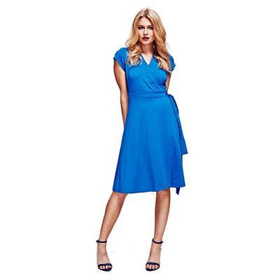 HotSquash Cobalt Cap Sleeve Wrap Dress in Easycare Fabric