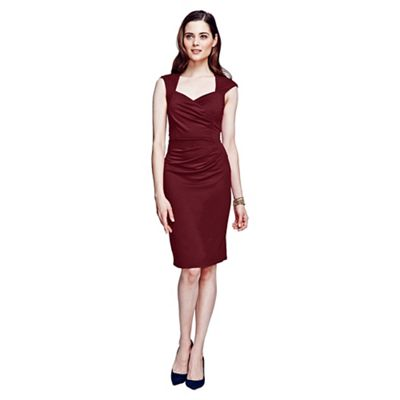 HotSquash Burgundy short sleeved dress in clever fabric