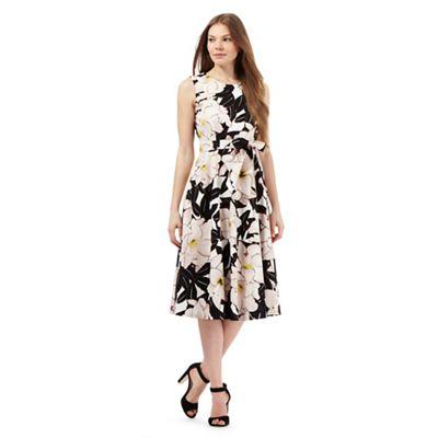 Betty Jackson.Black Multi-coloured floral print prom dress