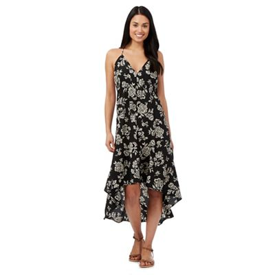 Beach Collection Black floral print strappy midi dress