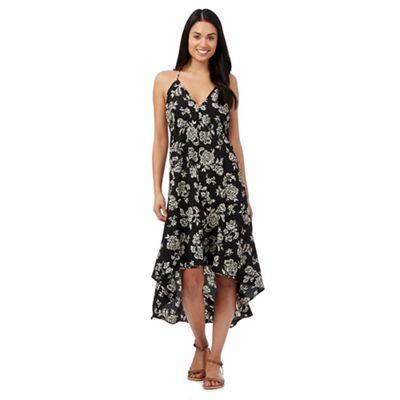 Beach Collection Black floral print strappy midi dress