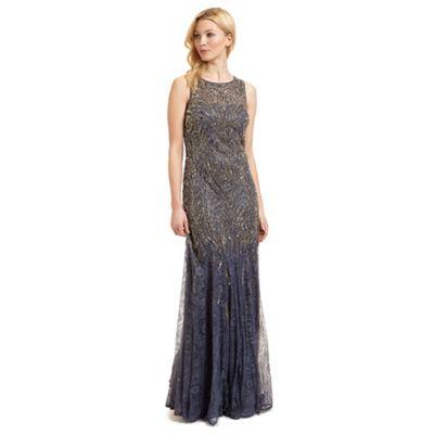 Ariella London Blue 'Winnie' lace and beaded evening dress