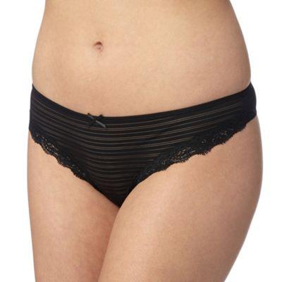 Debenhams Black burnout striped thong