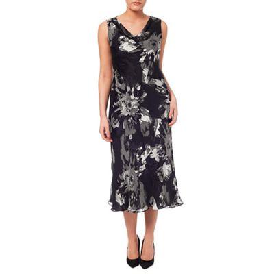 Windsmoor Floral Burnout Cowl Neck Dress