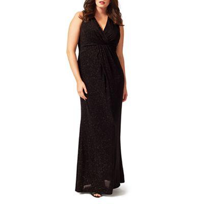 Studio 8 Sizes 16-24 Black gayle glitter maxi dress