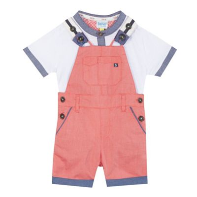Baker by Ted Baker Baby boys' red textured dungarees and white t-shirt set