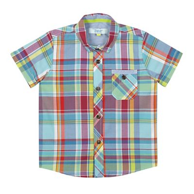 Baker by Ted Baker Boys' blue checked short sleeved shirt