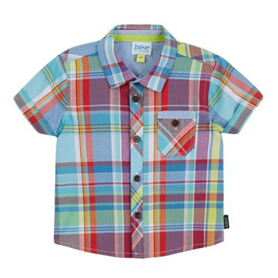 Baker by Ted Baker Baby boys' blue checked short sleeved shirt