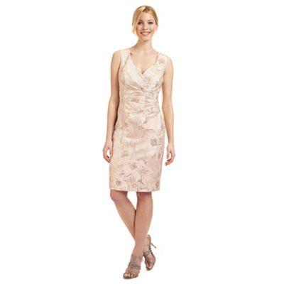 Ariella London Pale peach 'Dara' jacquard dress