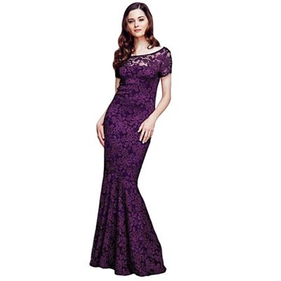 HotSquash Purple Lace Maxi Dress with Capped Sleeve