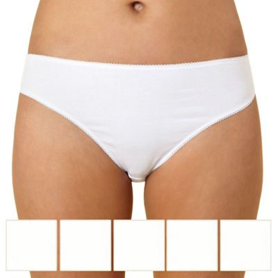 9adef9bd656d Debenhams Pack of five cotton white high leg briefs