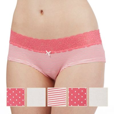 The Collection Pack of five pink and white patterned shorts