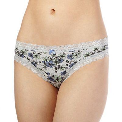 The Collection Grey floral print lace trim bikini briefs