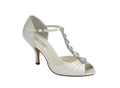 Benjamin Adams Ivory silk 'Mia' mid heel vintage t-bar sandal