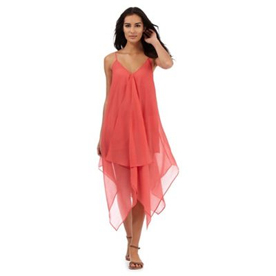 Beach Collection Coral hanky hem maxi dress