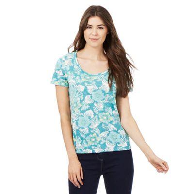 The Collection Aqua floral print t-shirt