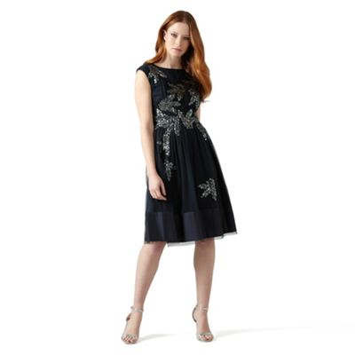 Phase Eight Navy areatha tulle sequin dress