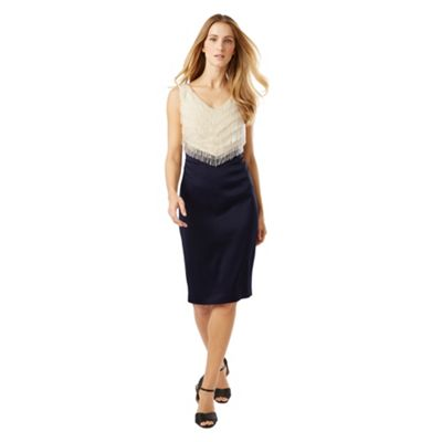 Phase Eight Champagne and Navy dress six