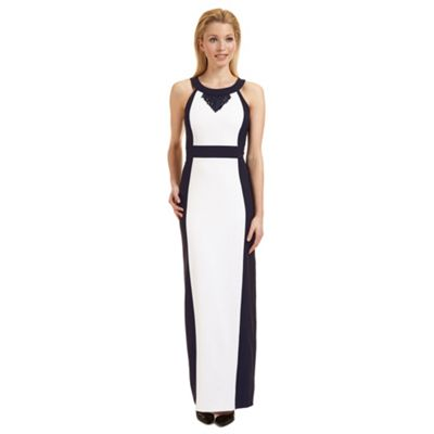 Ariella London White and navy 'Kendall' fringe trim evening dress