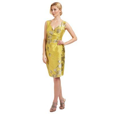 Ariella London Gold 'Bethan' jacquard dress