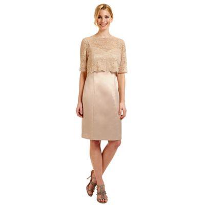 Ariella London Gold 'Dee' lace overlay dress